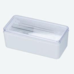 クリアランチボックス(箸付)(白)