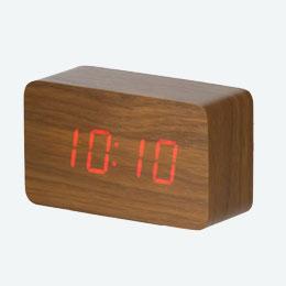 ウッド調LEDクロック(ブラウン)