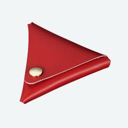 本革三角コインケース(赤)