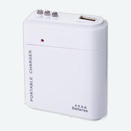 乾電池式USB充電器(白)