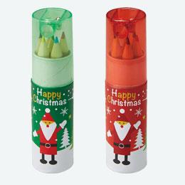 クリスマス・シャープナー付色鉛筆(6本入)