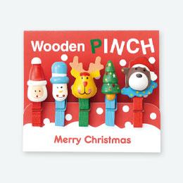 クリスマス木製ピンチ(5コセット)