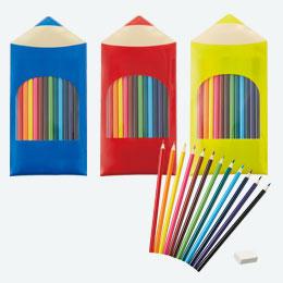 PVCケース入色鉛筆12本セット (消しゴム付)
