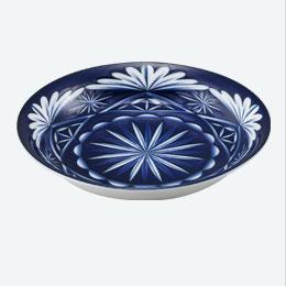 切子写し藍陶器・盛付皿 1P
