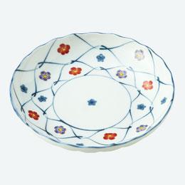 あみ梅 赤絵の花5寸皿1P