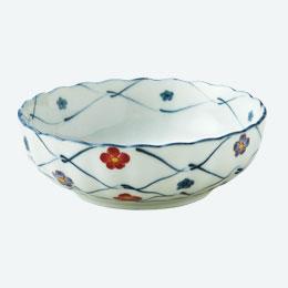 あみ梅 赤絵の花小鉢1P