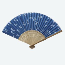 すす竹和扇子 藍染とんぼ