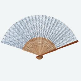 すす竹和扇子 青海波
