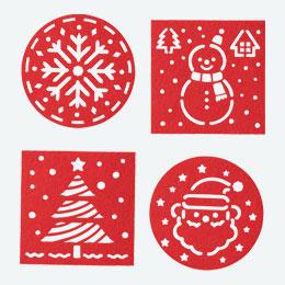 クリスマス フェルトコースター4P